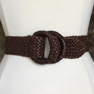 J. Crew Belt Brown Leather Woven Braided S/M